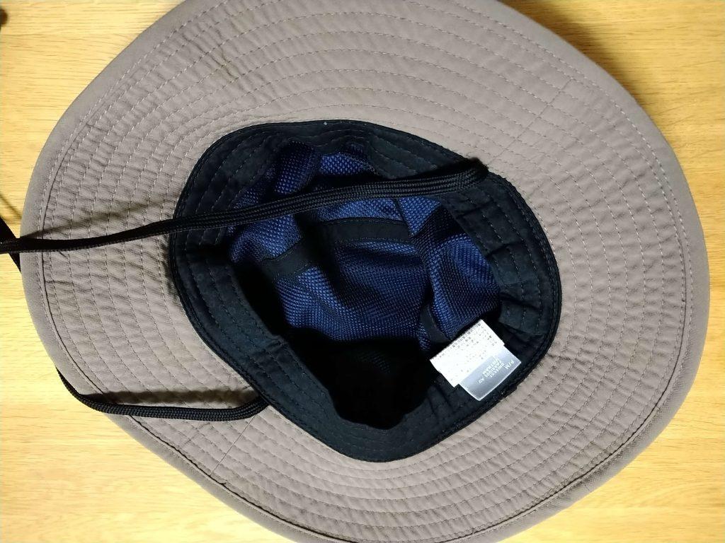 登山の帽子。裏面はメッシュ