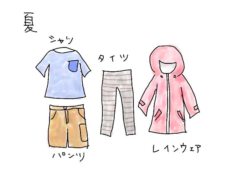 夏用登山服の一例