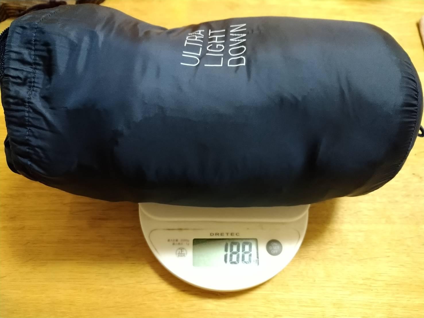 ユニクロのウルトラライトダウンの重さ