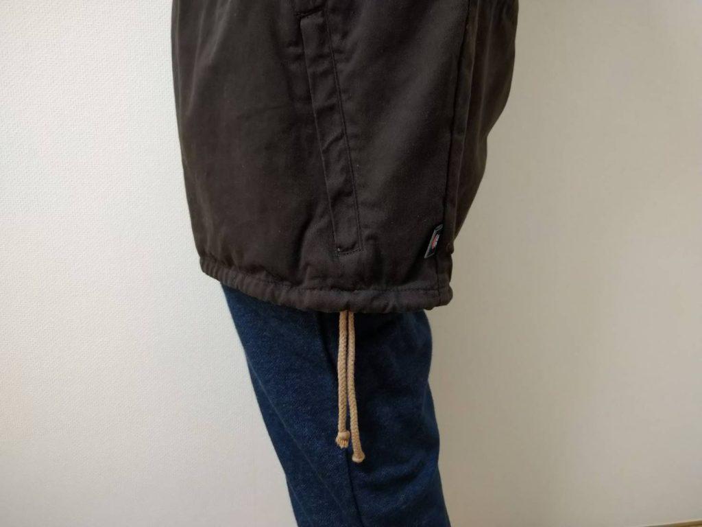 綿かぶりヤッケは裾も絞れます