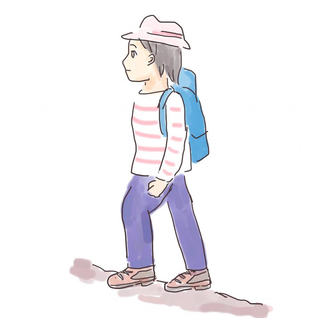 基本の歩き方は小幅で靴底全体で地面をとらえます