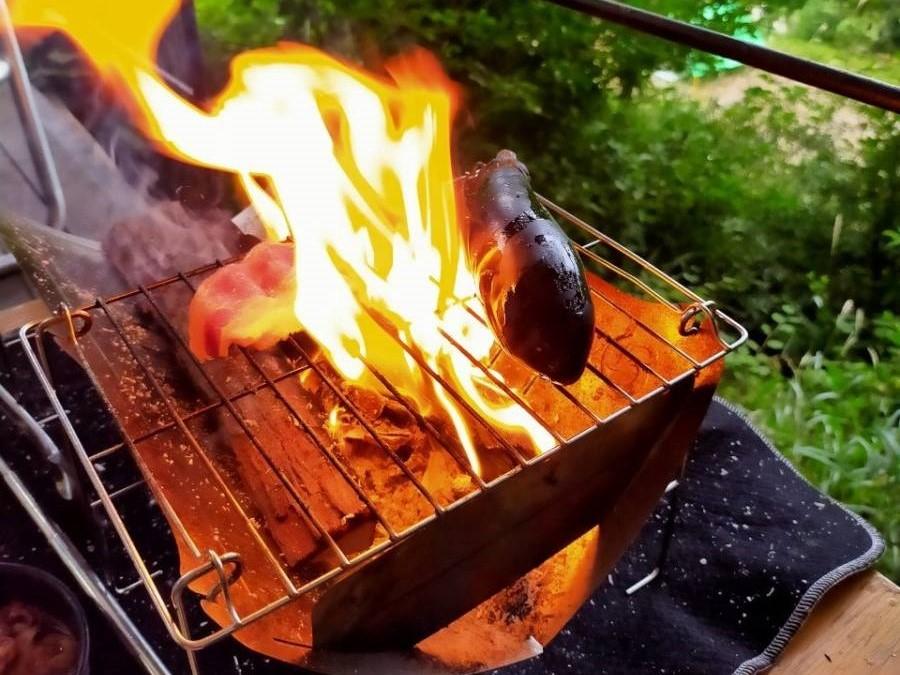 野菜も焼きやすい。ナスを焼きました
