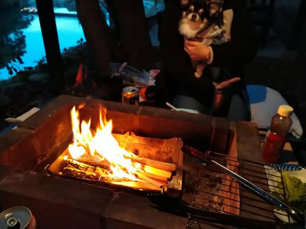 焚き火台を設置して使いましたが、直火も可能です。網は別途必要