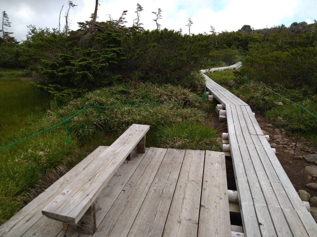 湿原の天狗原。デッキにベンチもある。景色もよく、休憩にもちょうどいい場所